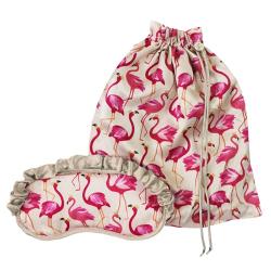 Flamingo Bag and silk eye mask set, 25 x 30cm, Pink