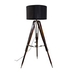 Campaign Tripod lamp, H118 x W80 x L80cm, honey distressed wood,black square shade