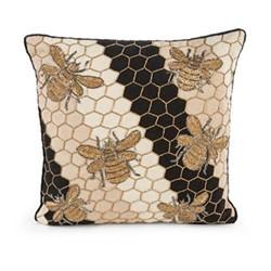 Beekeeper Pillow, L40.64 x H40.64cm, black&gold&white