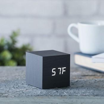 Cube Click Clock, L6.8 x W6.8 x H6.8cm, black/white