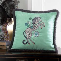 Caspian Square cushion, Aqua