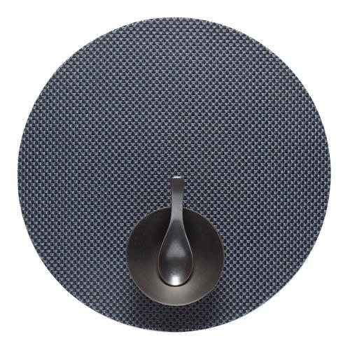 Basketweave Set of 4 round placemats, 38cm, Navy