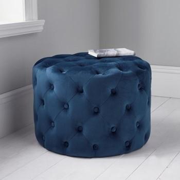 Tufted velvet stool, L60 x W60 x D42cm, blue