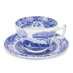 Blue Italian Set of 4 breakfast cups and saucers, 280ml