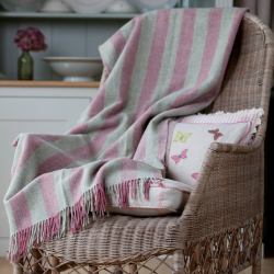 Shetland wool throw, L180 x W145cm, rose/pearl stripe