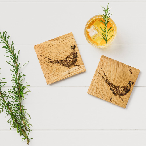 Pheasant Set of 2 coasters, L11 x W11cm, Oak