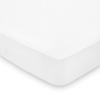 300 Thread Count Plain Dye Blue Hotel King size fitted sheet, L200 x W150 x H36cm, white