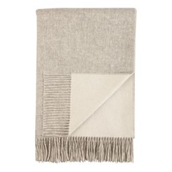 Plain Reversible Cashmere bed throw, 230 x 150cm, silver/white