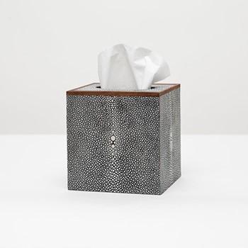 Manchester Tissue box, H14cm, cool gray faux shagreen