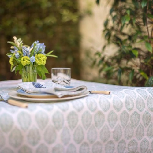 Leaf Round tablecloth, 180cm, Green Cotton