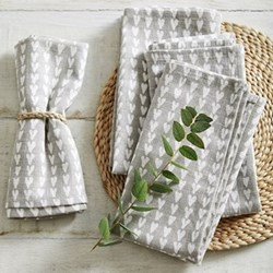Set of 4 heart print napkins, W45 x L45cm, grey