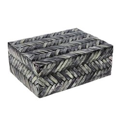 Chevron Box, 20 x 15 x 7.5cm, grey