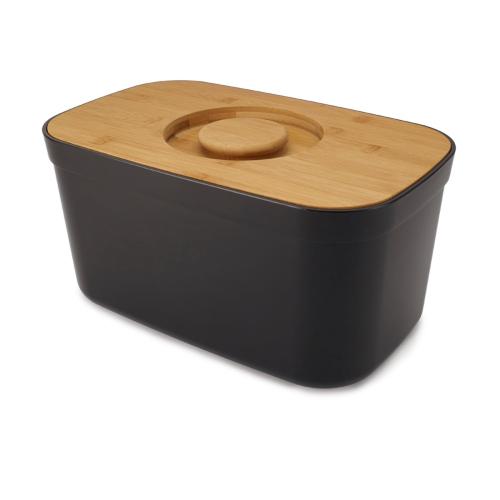 Bread bin with cutting board lid, H18 x W27 x D22cm, Black