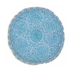 Souk Embroidered cushion, Dia40cm, turquoise