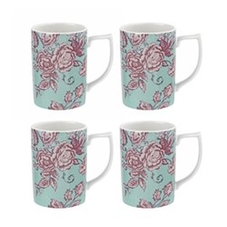 Kingsley Set of 4 mugs, teal