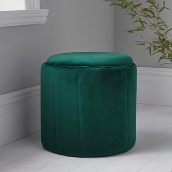 Round plush stool, L43 x W43 x D42cm, green