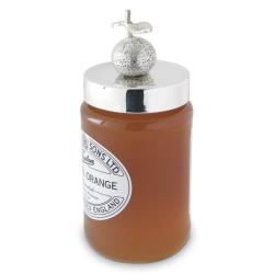 Orange Jam jar lid, silver plate