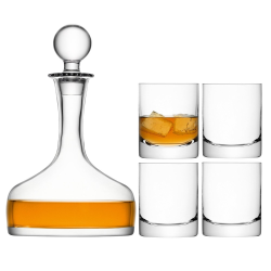 Bar Whiskey set consisting of decanter and 4 tumblers, 1.6 litre, clear