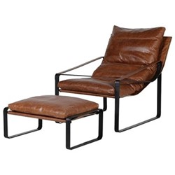 Relaxer Chair and stool, H33 x W68 x D46cm, brown