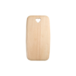 Colonial Home Rectangular board with heart cut out - medium, 35 x 19 x 1.5cm, Natural Hevea
