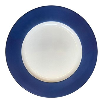Plain Midnight - Gold Charger plate, 33cm, midnight blue & white/gold