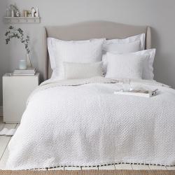 Brittany - Cotton Voile Double quilt, 215 x 250cm, white/grey