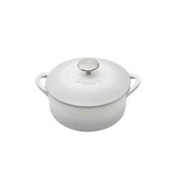 Natural Cast Iron Round casserole dish, D20cm, Light Grey