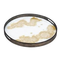Mist Organic glass tray, D48cm, gold
