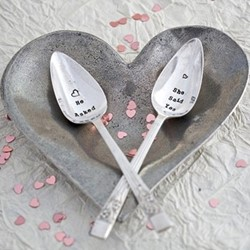 He Asked/She Said Yes Tea spoon set, 13cm, silver plated