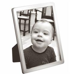 "N Series - Plain Photograph frame, narrow, 3.5 x 2.5"", Sterling Silver With Blue Velvet Back"