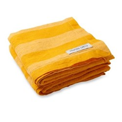 Stripe Linen beach towel, sunflower tonal