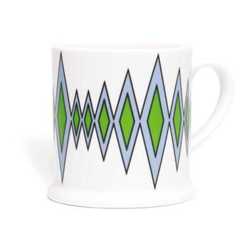 Diamond Espresso cup, 6.6 x 6.1cm, cornflower blue/green