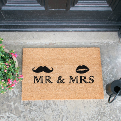 Mr and Mrs Doormat, 60 x 40cm, Natural/Black