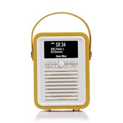 Retro Mini DAB radio, H22 x W15 x D10.5cm, mustard
