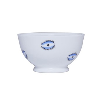 Eye Sugar bowl, H10 x D10cm, white and blue