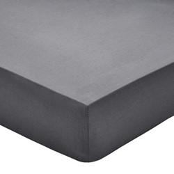 200TC Plain Dye King size fitted sheet, L190 x W135 x H32cm, graphite