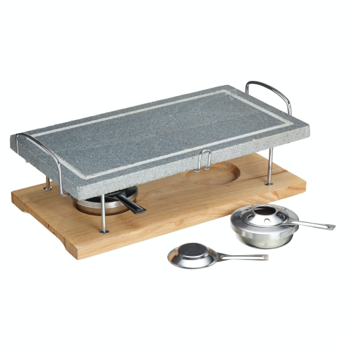 Hot stone grill set, 42 x 22 x 15cm, marble with wooden base