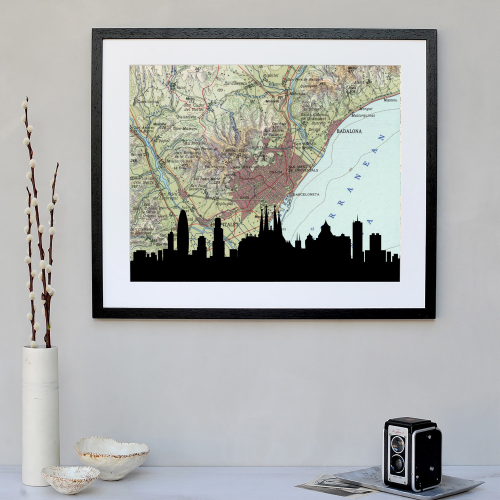 Barcelona Framed silhouette image with personalised map, 43 x 48cm, Black Frame