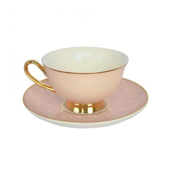 Spotty Set of 4 teacups and saucers, H6x Dia15cm, pink/white