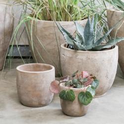 Affiti Small clay pot, D13 x 14cm, antique grey