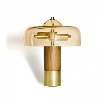 Hartnell Table lamp, 35 x 30 x 30cm, wood/brass