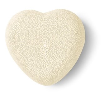 Shagreen Heart jewellery box, cream
