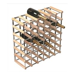 42 bottle wine rack, H62 x W62 x D23cm, natural/galvanised steel