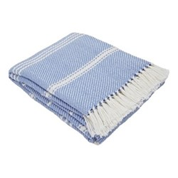 Oxford Stripe Throw, L230 x W130cm, cobalt