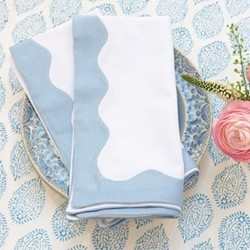 Wave Set of 4 napkins, 45 x 45cm, blue cotton