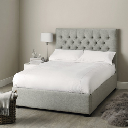Richmond King size bed, H154 x W161 x L218cm, Light Grey/ Melton Wool