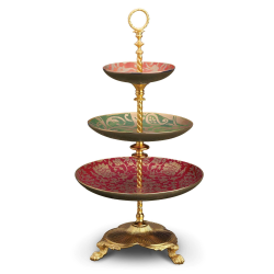 Fortuny Cake stand, 28 x 51cm, gold and assorted colours