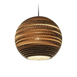 Scraplights Moon10 Pendant light, D26 x H22cm, recycled cardboard
