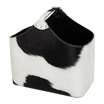 Cowhide Magazine basket, H39 x W33 x L20cm, black and white
