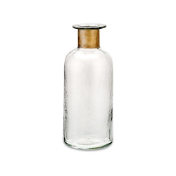 Chara Hammered Small bottle, D31.5 x 12cm, Clear Glass & Antique Brass